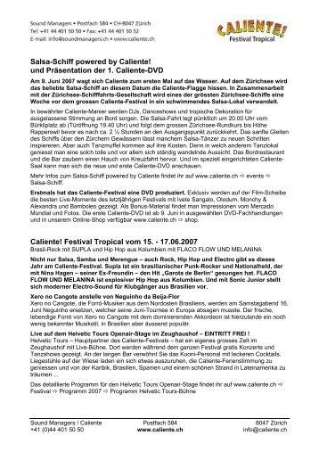Salsa-Schiff powered by Caliente! und Präsentation der 1. Caliente ...