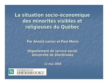 La situation socio-économique des minorités visibles et religieuses ...