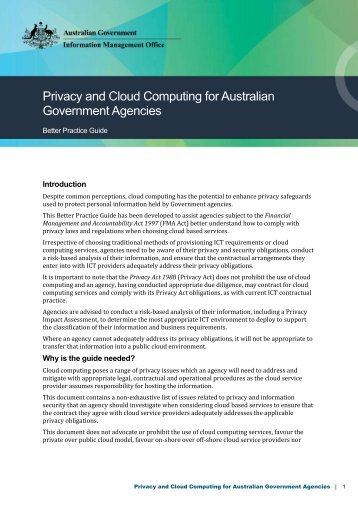 Privacy and Cloud Computing for Australian Government ... - agimo