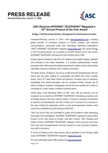 PRESS RELEASE - ASC telecom