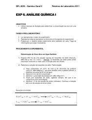 EXP 6. ANÁLISE QUÍMICA I