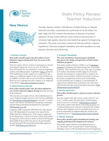State Policy Review: Teacher Induction - New Teacher Center