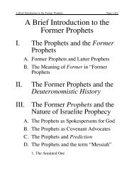 A Brief Introduction to the Former Prophets - Greek Language and ...