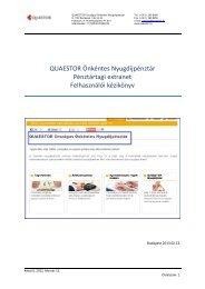 Felhasználói kézikönyv - Quaestor