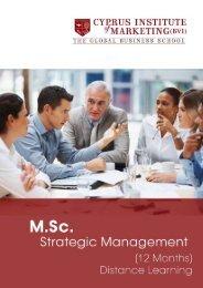 M.Sc. Strategic Management Leaflet - The Cyprus Institute of ...