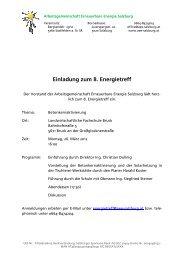 AEE Salzburg: Einladung zum 8. Energietreff - bei der AEE Salzburg
