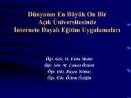 Dünyanın En Büyük On Bir Açık Üniversitesinde İnternete Dayalı ...