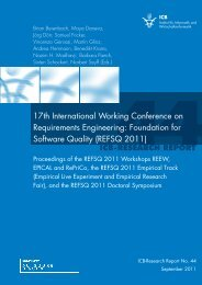 Part I REFSQ 2011 Workshop Proceedings - Software Engineering