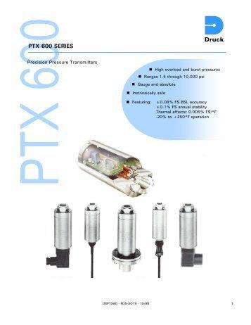 PTX 600 Series Precision pressure transmitters - Veronics, Inc.