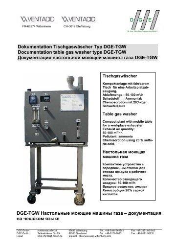 DGE-TGW Настольные моющие машины газа - DGE-Wittenberg ...