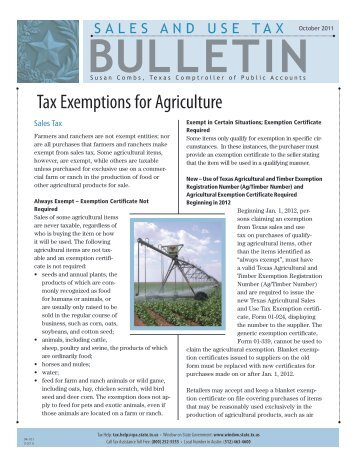 Tax Exemptions for Agriculture - Texas Comptroller of Public Accounts