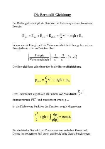Die Bernoulli-Gleichung