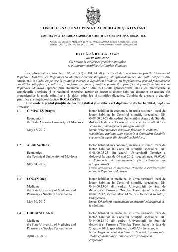 Hotărîrea cu privire la conferirea gradelor ştiinţifice şi a titlurilor ...