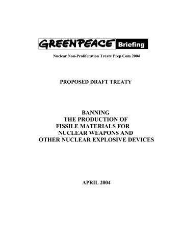Treaty banning the production of fissile materials for nuclear ...