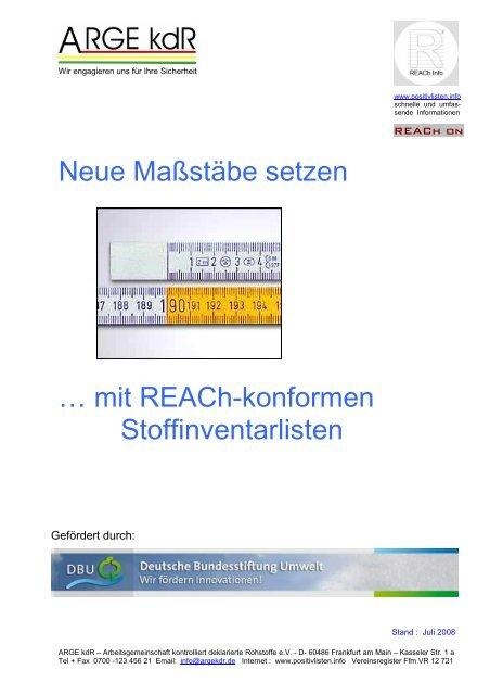 Neue Maßstäbe setzen … mit REACh-konformen Stoffinventarlisten