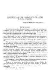 ASSISTÊNCIA SOCIAL AO DOENTE DE LEPRA E A SUA FAMÍLIA