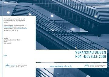 VERANSTALTUNGEN HOAI-NOVELLE 2009 - Akademie AKNW