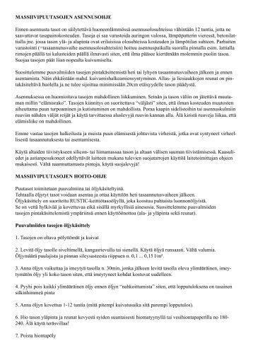 Asennus- ja hoito-ohjeet massiivipuutasoille - Netrauta.fi