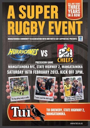 Saturday 16th February 2013. kick oFF 3pm. - Tui
