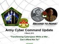 Army Cyber Command Update - AFCEA Belvoir