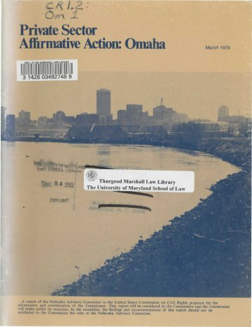 Private Sector Affirmative Action: Omaha - University of Maryland ...