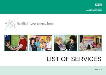 LIST OF SERVICES - Halton and St Helens PCT