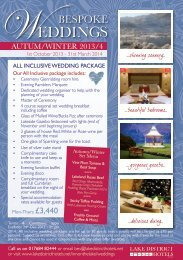 ALL INCLUSIVE WEDDING PACKAGE - Lake District Hotels