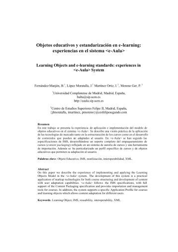 Objetos educativos y estandarización en e-learning: experiencias ...