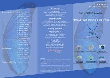 """20 Marzo 2010 """"FOCUS"""" sulla chirurgia della tiroide - S.I.O.e.Ch.CF."""
