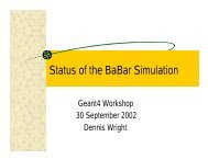 Status of the BaBar Simulation - Geant4