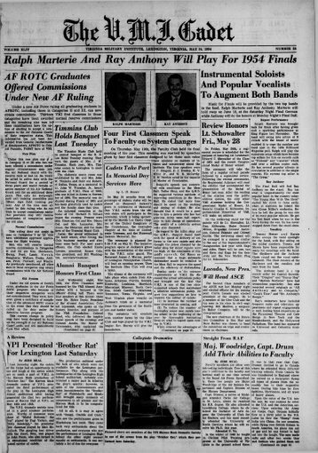 The Cadet. VMI Newspaper. May 24, 1954 - New Page 1 [www2.vmi ...