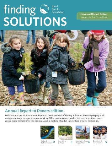2011 Annual Report to Donors (PDF) - David Suzuki Foundation