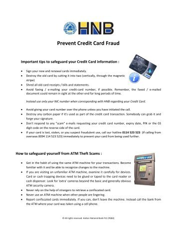 Prevent Credit Card Fraud - Hatton National Bank