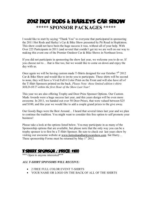 Sponsor Letter 2012 Hot Rods And Harleys Car Show