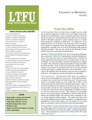 LTFU - Childhood Cancer Survivor Study - St. Jude Children's ...