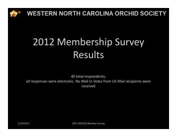 2012 Membership Survey Results - Western North Carolina Orchid ...