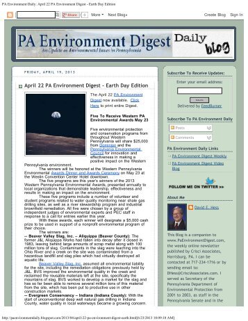 April 22 PA Environment Digest - Earth Day Edition - the Ohio River ...