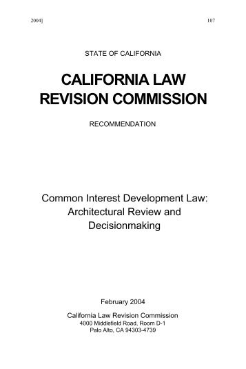 Recommendation - California Law Revision Commission - State of ...