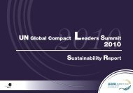 MCI Sustainability Report for the UNGC Leaders Summit 2010