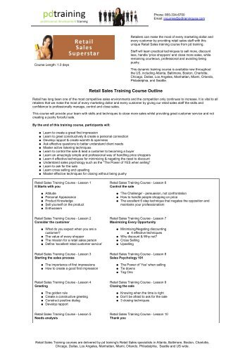 Retail Sales Training Course Outline - Professional Development ...