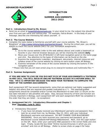 AP Biology Summer Assignments 2011.pdf - Johns Creek High School