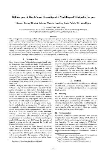 A Word-Sense Disambiguated Multilingual Wikipedia Corpus - UPC