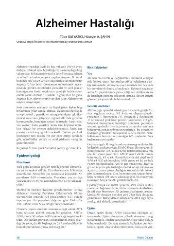 Alzheimer Hastalığı - Klinik Gelişim
