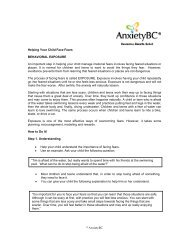 © AnxietyBC Helping Your Child Face Fears BEHAVIORAL ...