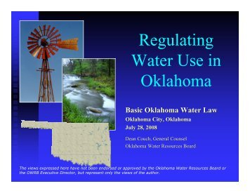 Regulating Water Use in Oklahoma - Water Resources Board