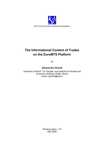 The Informational Content of Trades on the EuroMTS Platform - Istat