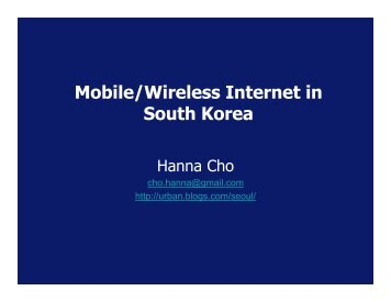 Mobile/Wireless Internet in South Korea - Community Wireless ...