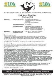 PADI Nitrox Diver Kurs (Enriched Air) - AQUATICA