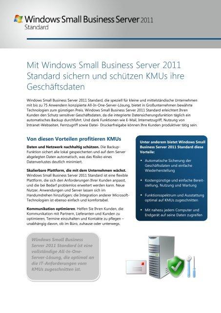 Small Business Server SBS 2011 Standard Datenblatt