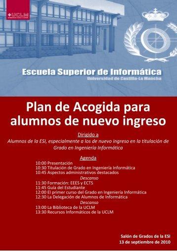 Plan de Acogida para alumnos de nuevo ingreso - Escuela Superior ...